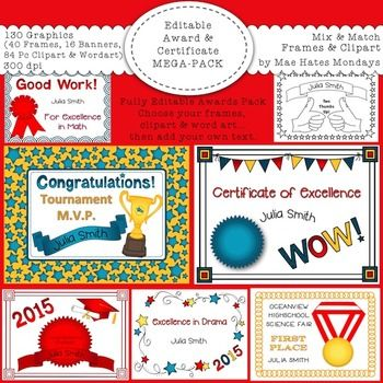 Awards And Certificates  Frames Clipart And Wordart