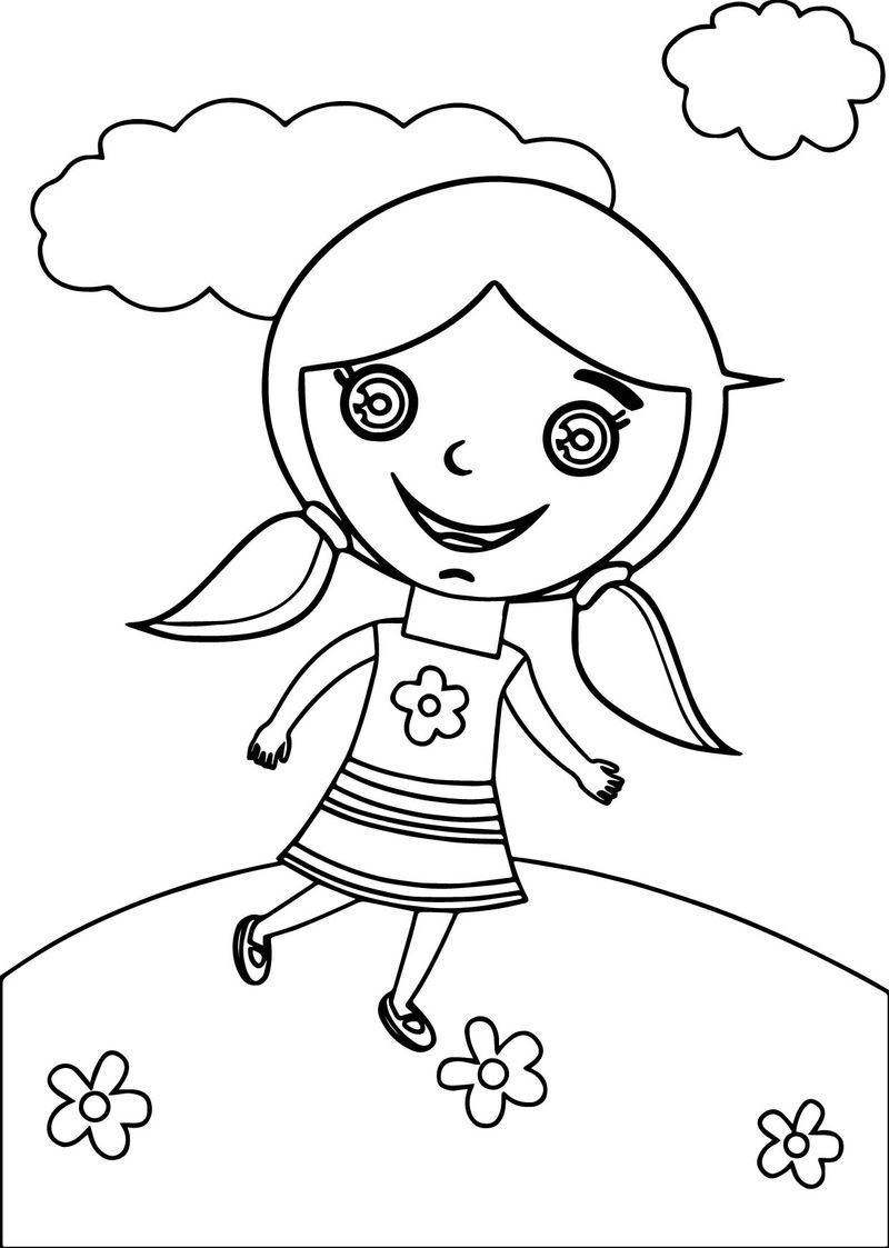 Happy Kids Girl Coloring Page Dengan Gambar