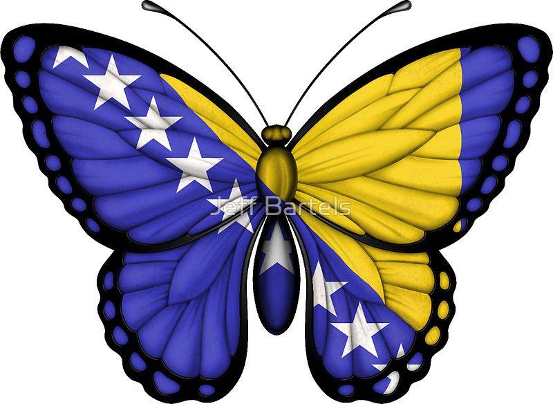 Bosnia Herzegovina Flag Butterfly Bosnien