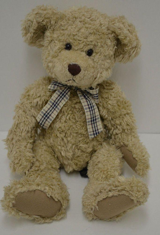 Tennyson Russ Berrie Teddy Bear Plush Tan Curly Fur Plaid