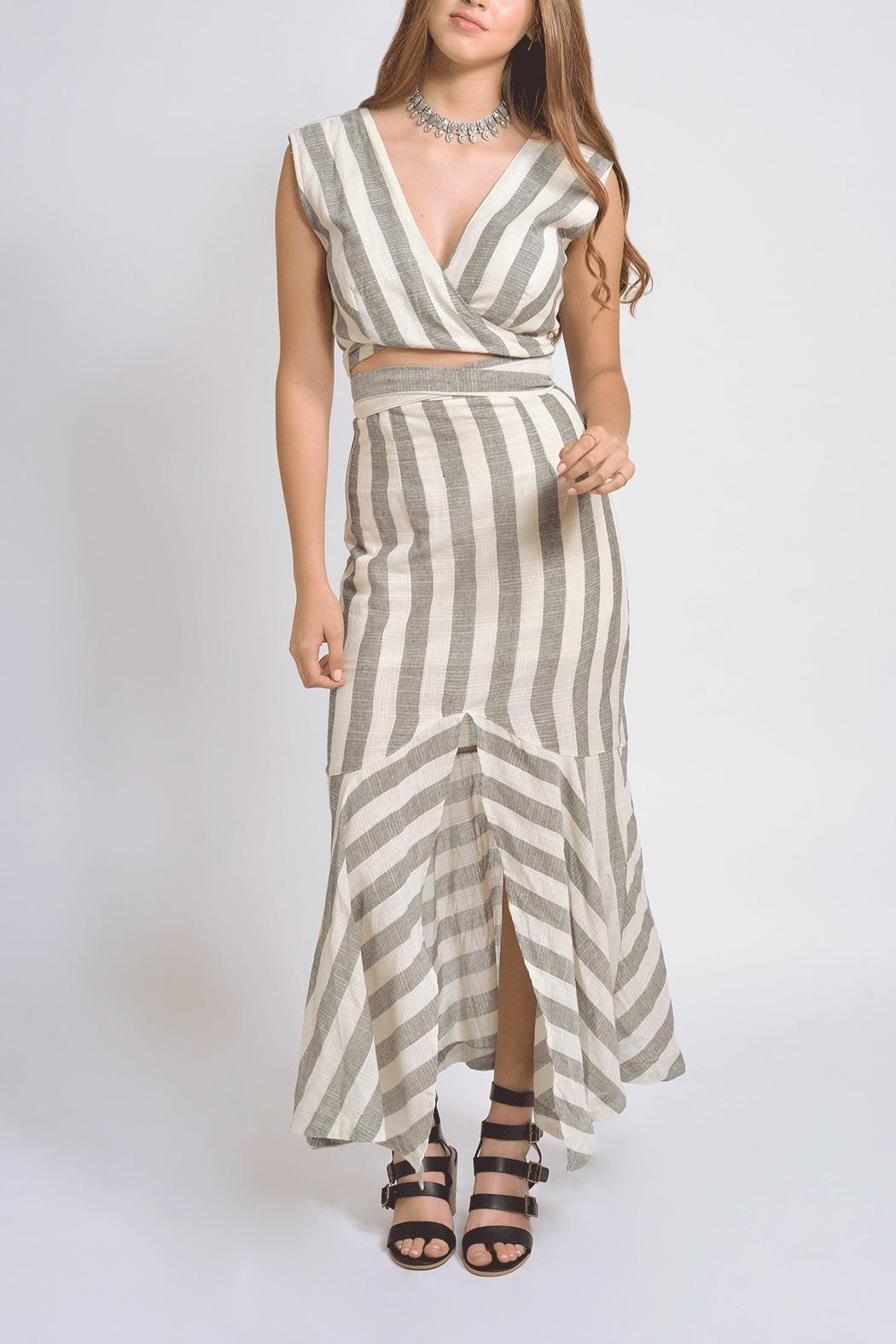 Vestido beige a rayas negras vestido largo cut out dividiendo falda de top  frente forro en f08ac84d17b7