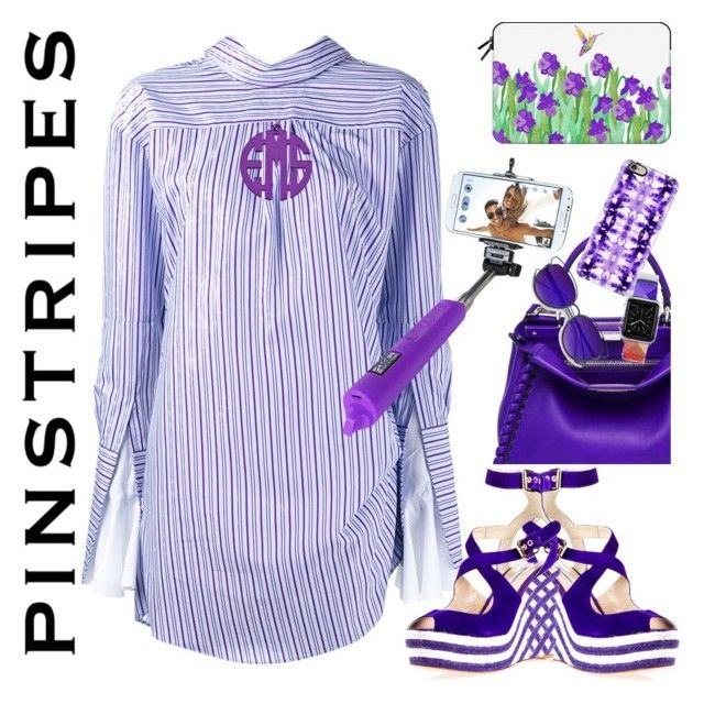 """""""Pinstripe Dress"""" by petalp ❤ liked on Polyvore featuring Fendi, Jacquemus, Brian Atwood, Casetify, ZeroUV, Initial Reaction, purple and dress"""