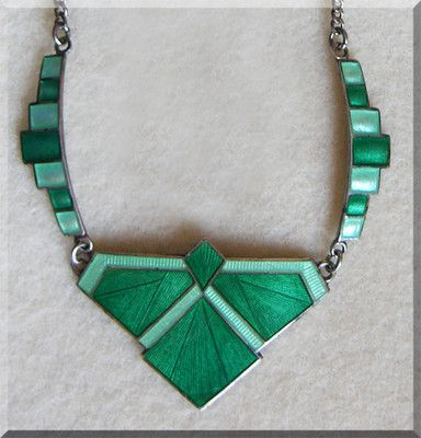 ART DECO Green Geometric STERLING & ENAMEL Old Estate Necklace