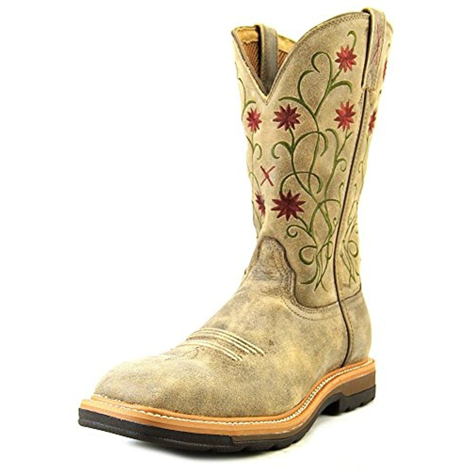 Women's Floral Stitched Roughstock Cowgirl Boot Steel Toe - Wlcs002