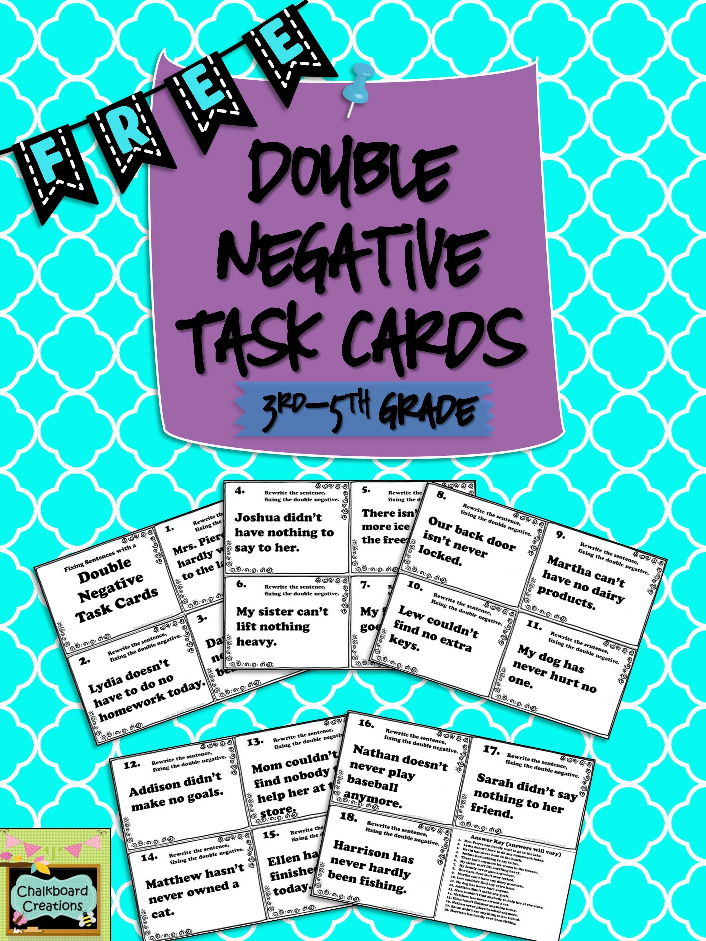 Double Negative Task Cards Free