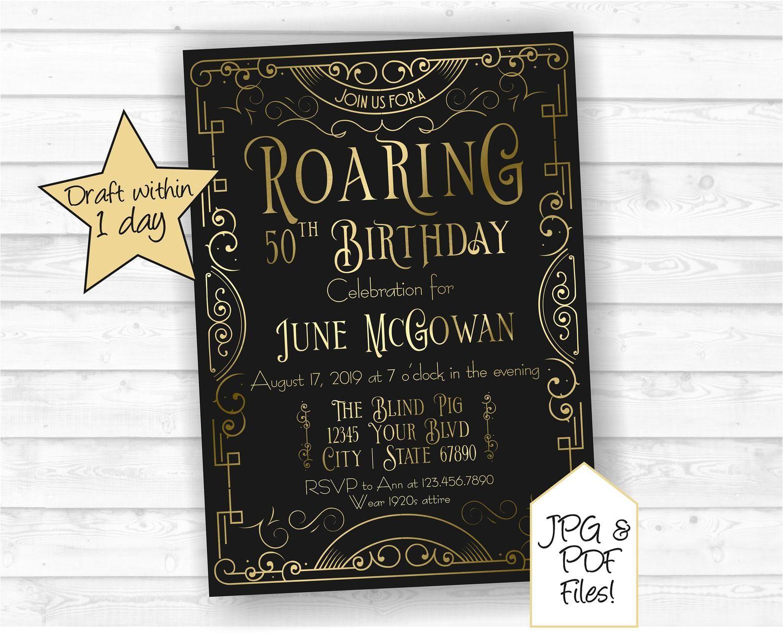 50th Birthday Invitation Roaring 20s Speakeasy Birthday ...