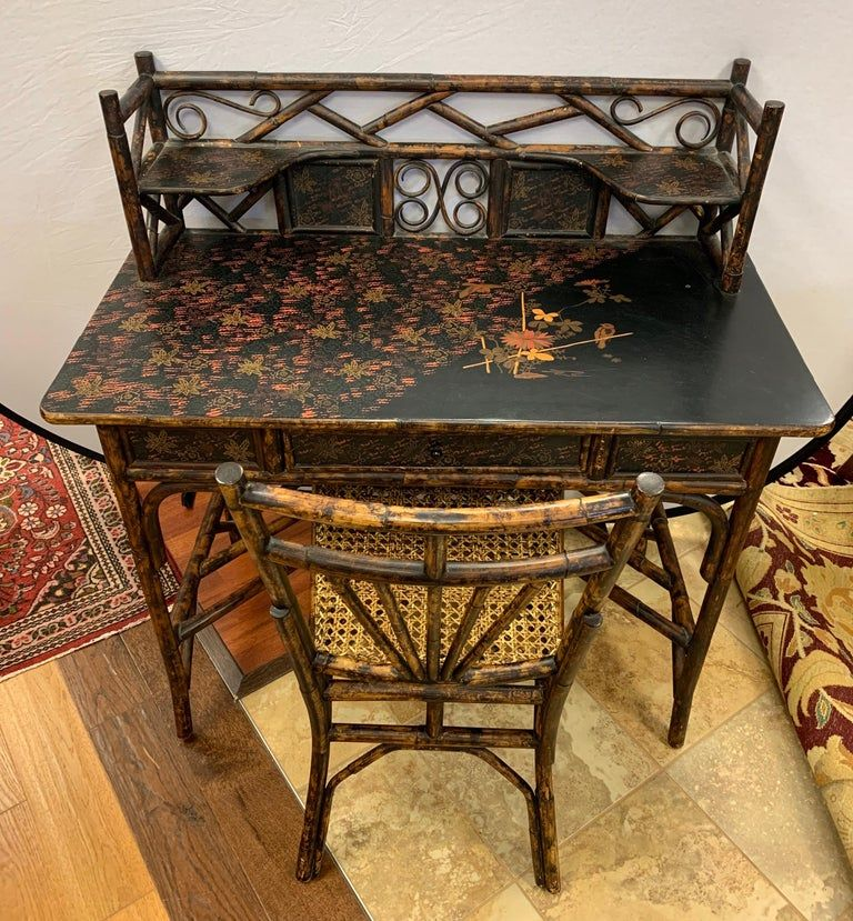 Antique bamboo chinoiserie writing desk and matching chair