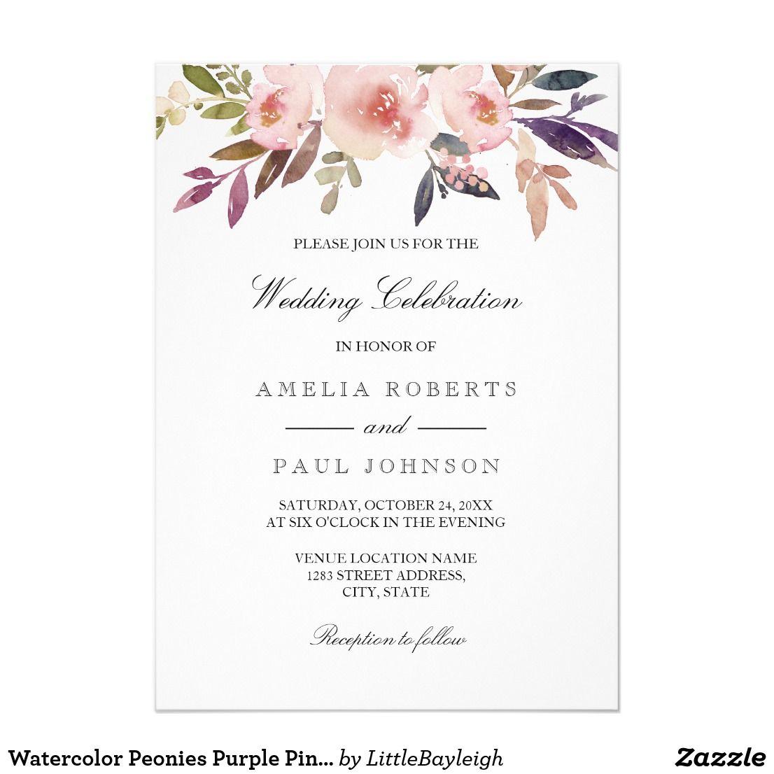 Watercolor Peonies Purple Pink Wedding Invitation | Purple pink ...