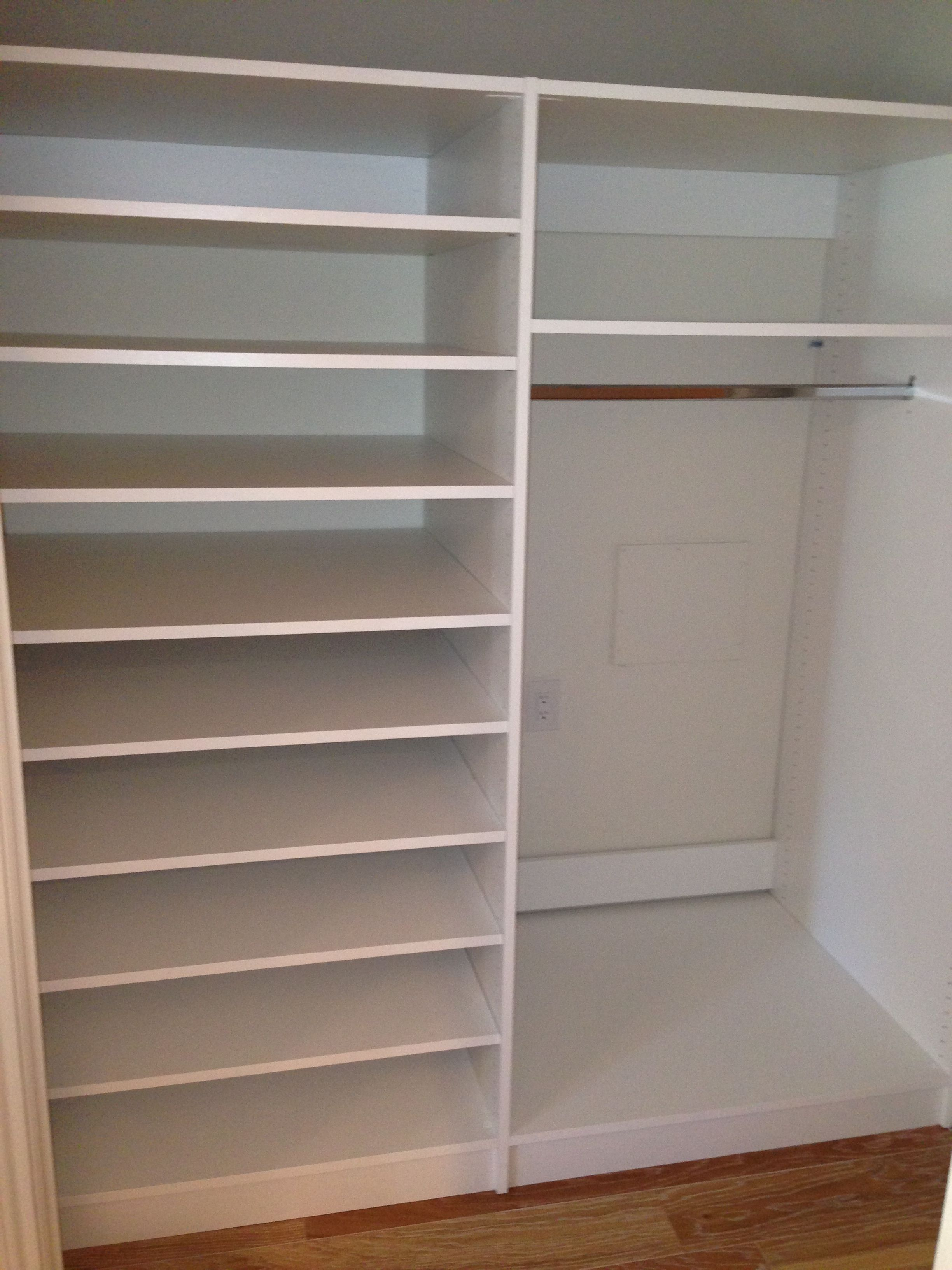 White Melamine, Deeper Panels In Small Storage Closet. Deeper Shelves For  Linen Storage.