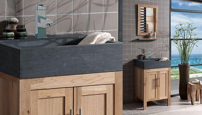 Vasque en pierre noire carrée KIAMA 40x40 pierre de lave - Living - meuble salle de bain pierre naturelle