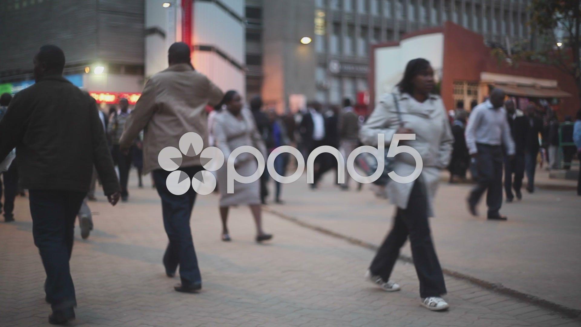 Crowd Of People Walk In Nairobi Kenya Africa Stock Footage Walk Nairobi Crowd People Kenya Africa Africa Kenya