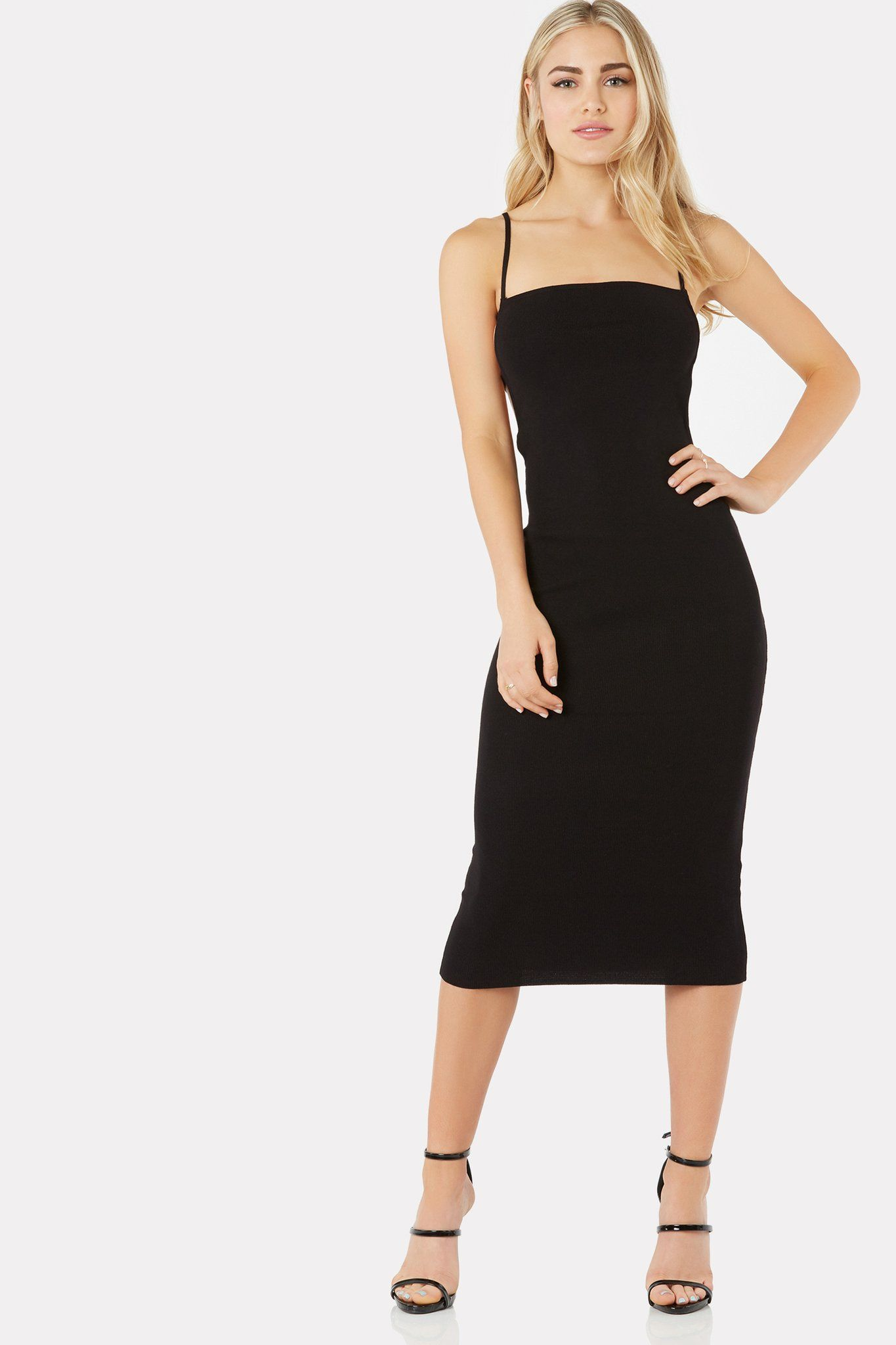 904f59c9a0ab Spaghetti strap cami midi dress with flattering fit. Sexy open back with  strappy caged design. Straight neck and hem line finish.