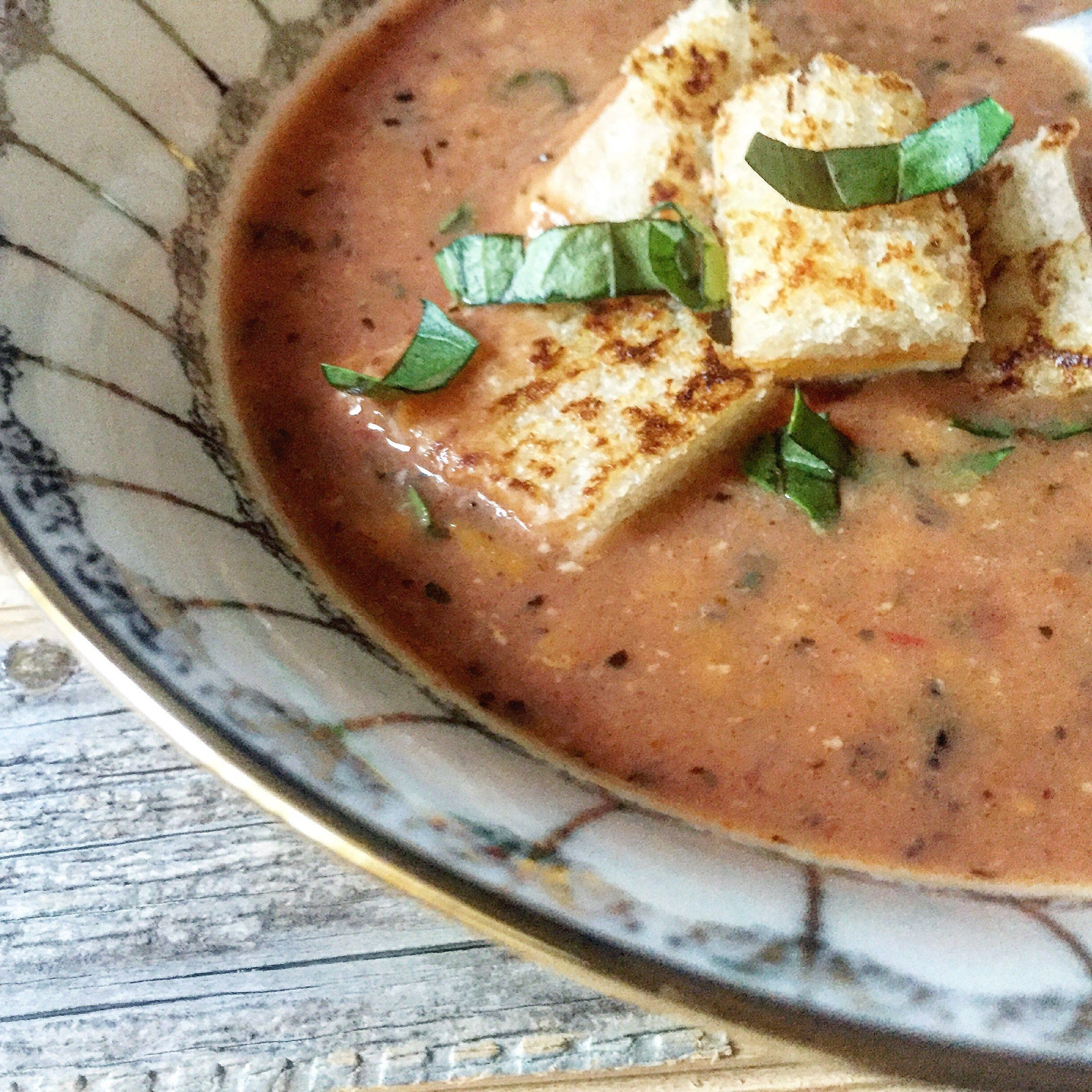 Slow Cooker Creamy Herb Tomato Soup with Grilled Cheese Croutons