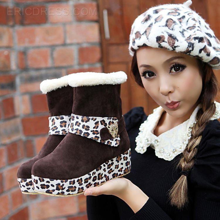 Wonderful Leopard Contrast Color Ankle Boots Large Size Women's Shoes