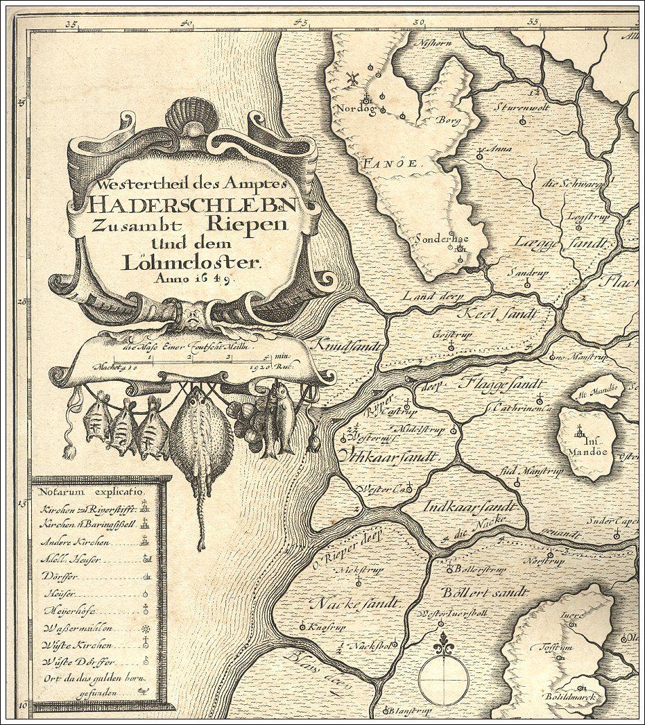 Fano 1652 Gamle Kort Danmark Kort