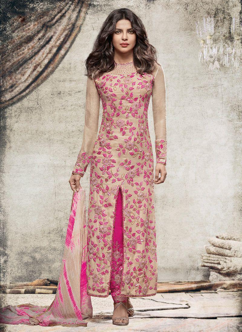 Priyanka chopra beige n pink embroidered designer suit | Pinterest ...