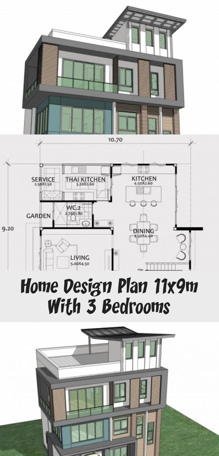 Home Design Plan 11x9m With 3 Bedrooms Home Ideas Tinyhousediycheapdesign In 2020 Home Design Plan House Design Design