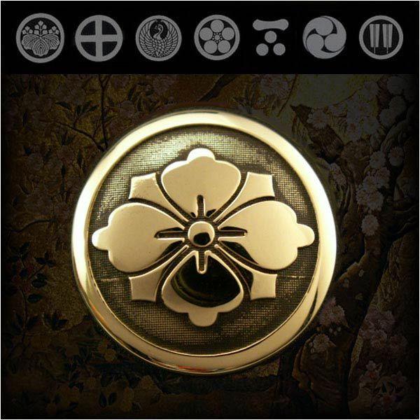 楽天市場 家紋 コンチョ 真鍮 紋章 家紋 勝海舟 丸に剣花菱 剣花菱紋