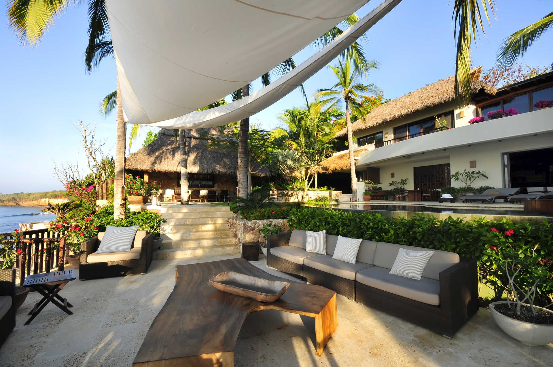 Villa Amanecer Punta De Mita Outdoor Lounge 10 Person Dining Table Villa