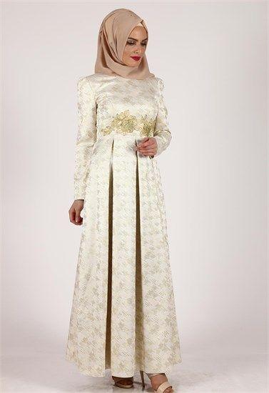 5278 New Multi Sifon Tesettur Abiye 38 44 Krem Alvina Elbise Elbise Modelleri Giyim