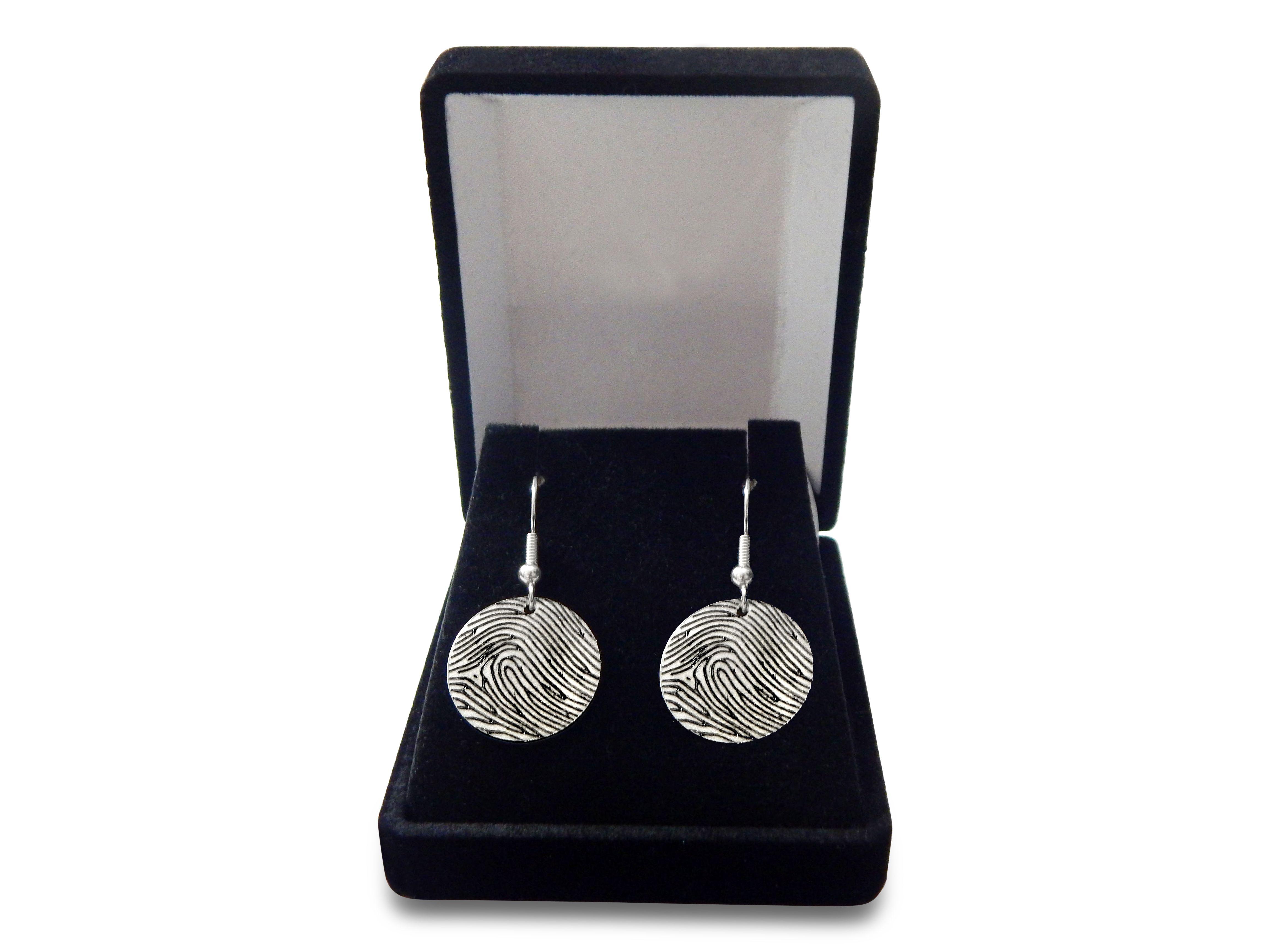 Luxurious Black Velvet Jewelry Box comes with Fingerprint Earrings