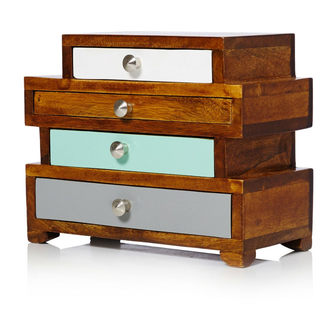 Ethel Four Drawer Wooden Jewellery Box Wooden jewelry boxes