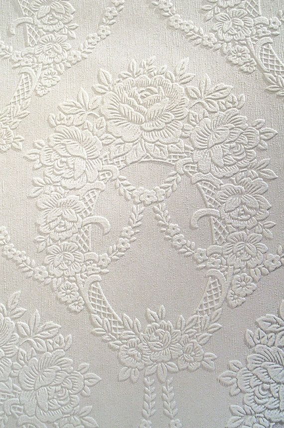 Vintage Embossed Paintable Wallpaper By The Yard  White Textured Paper With  Floral Pattern