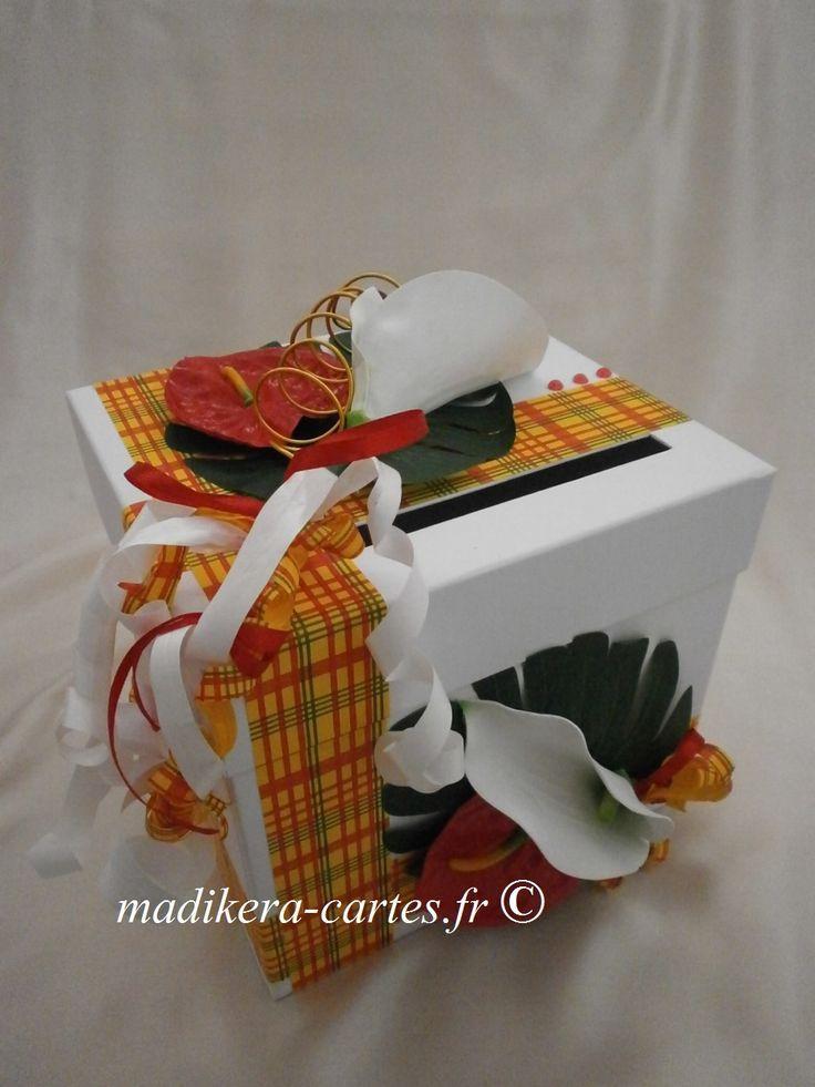 urne madras fleurs tropicales tropical wedding card box d co mariage pinterest fleurs. Black Bedroom Furniture Sets. Home Design Ideas