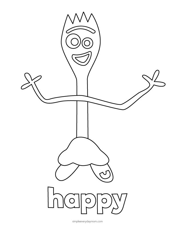 Toy Story 4 Forky Coloring Pages For Kids Dibujos Para