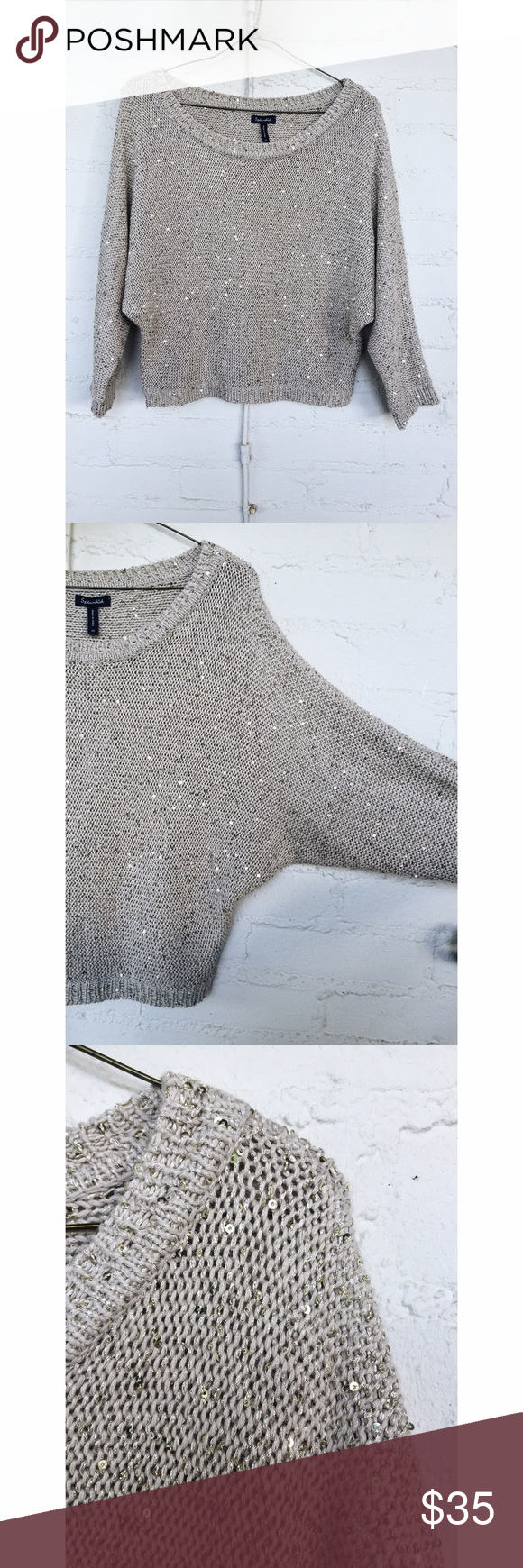 Splendid Sequin Sweater Splendid cream knit sweater with sequins, size XS. Wide at the top and baggy fit. You'd think the sequins would be itchy, but it's very comfortable!! In great condition.  🌸 Offers welcome! 🌸 Splendid Sweaters Crew & Scoop Necks