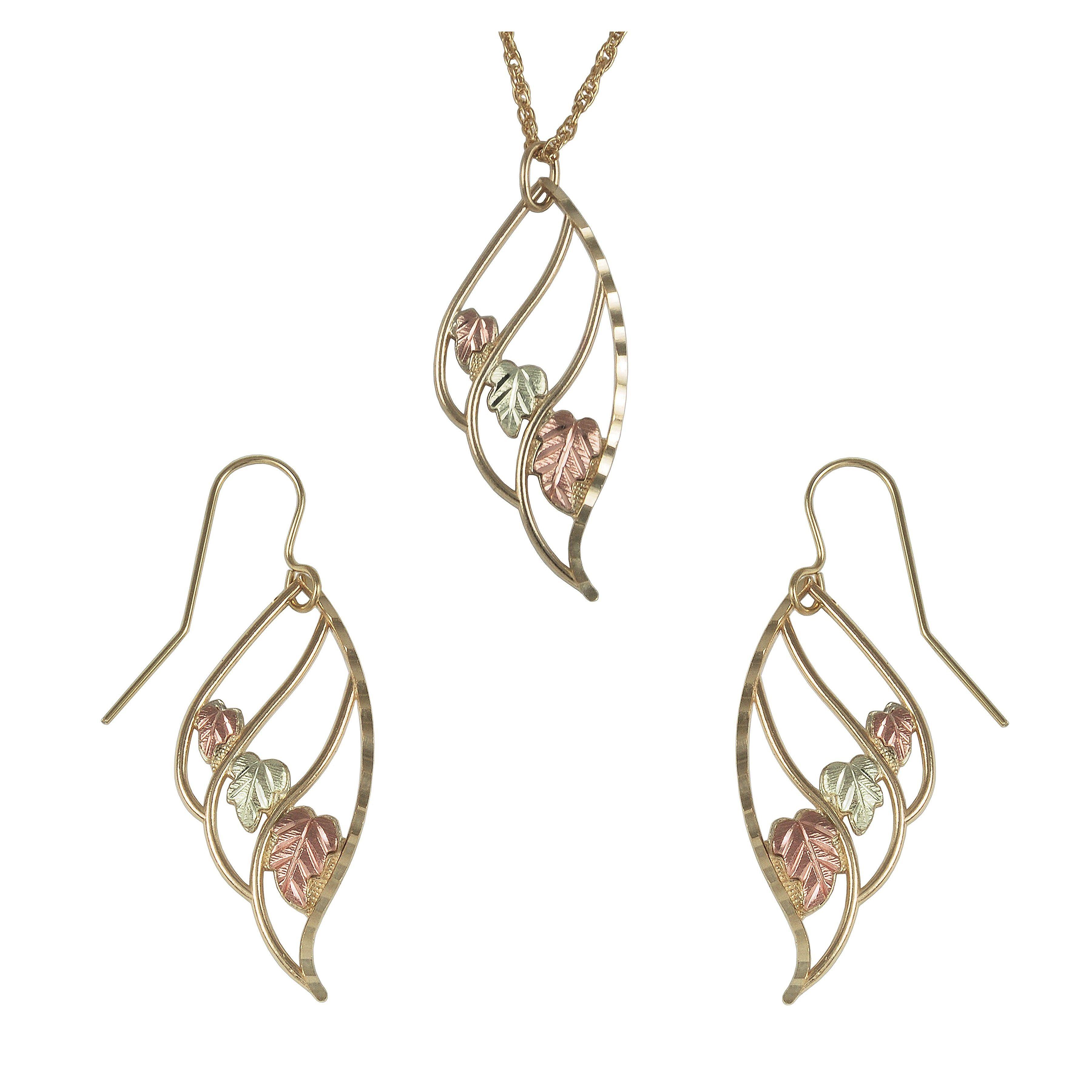 Black hills gold triple leaf earrings u pendant set black hills