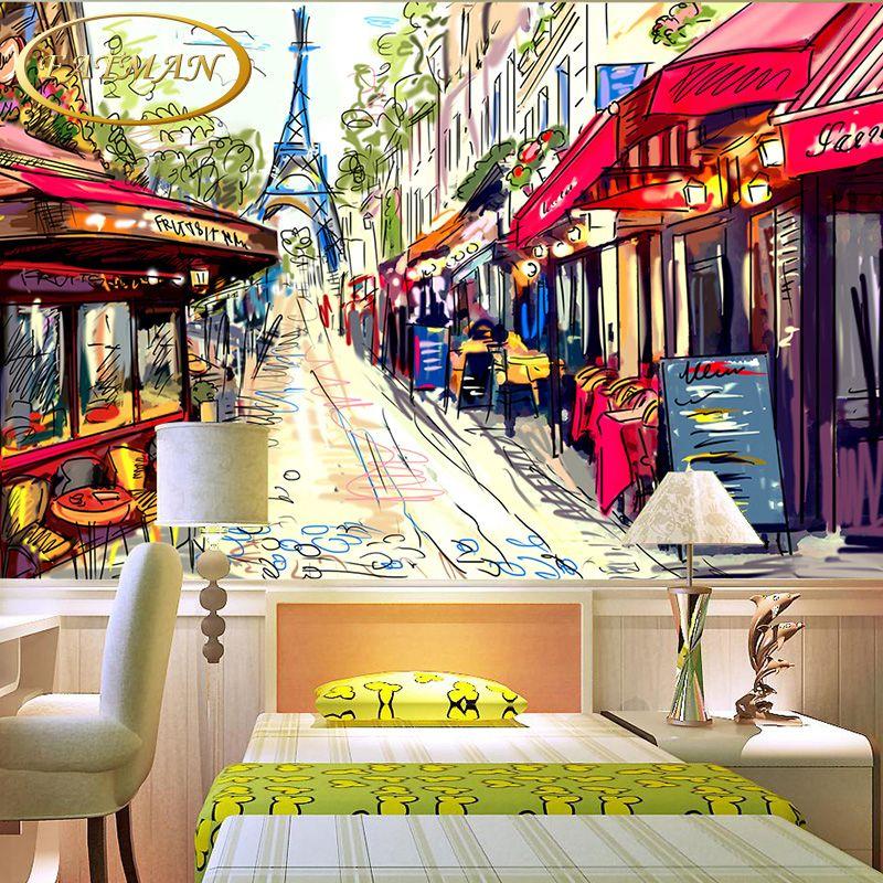 Gunstige Benutzerdefinierte 3d Fototapete Graffiti Paris Strasse