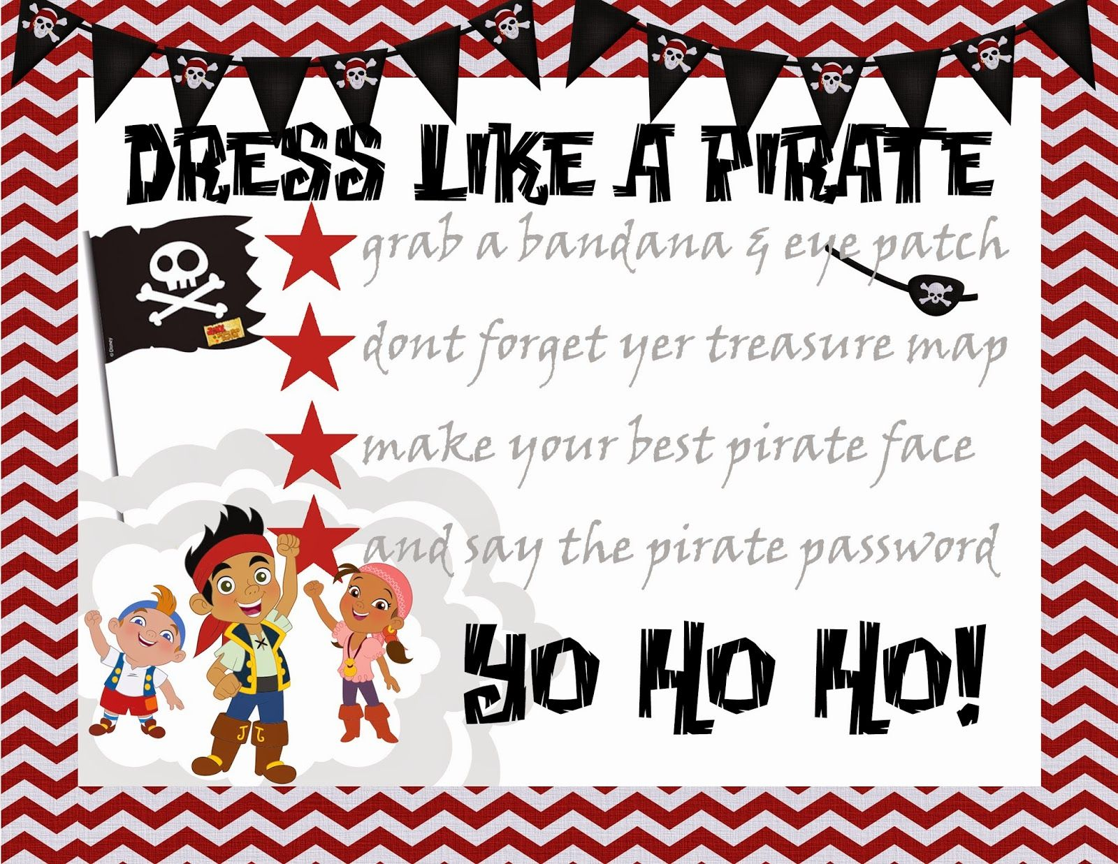 Jake & the Neverland Pirates birthday party- free party printables ...