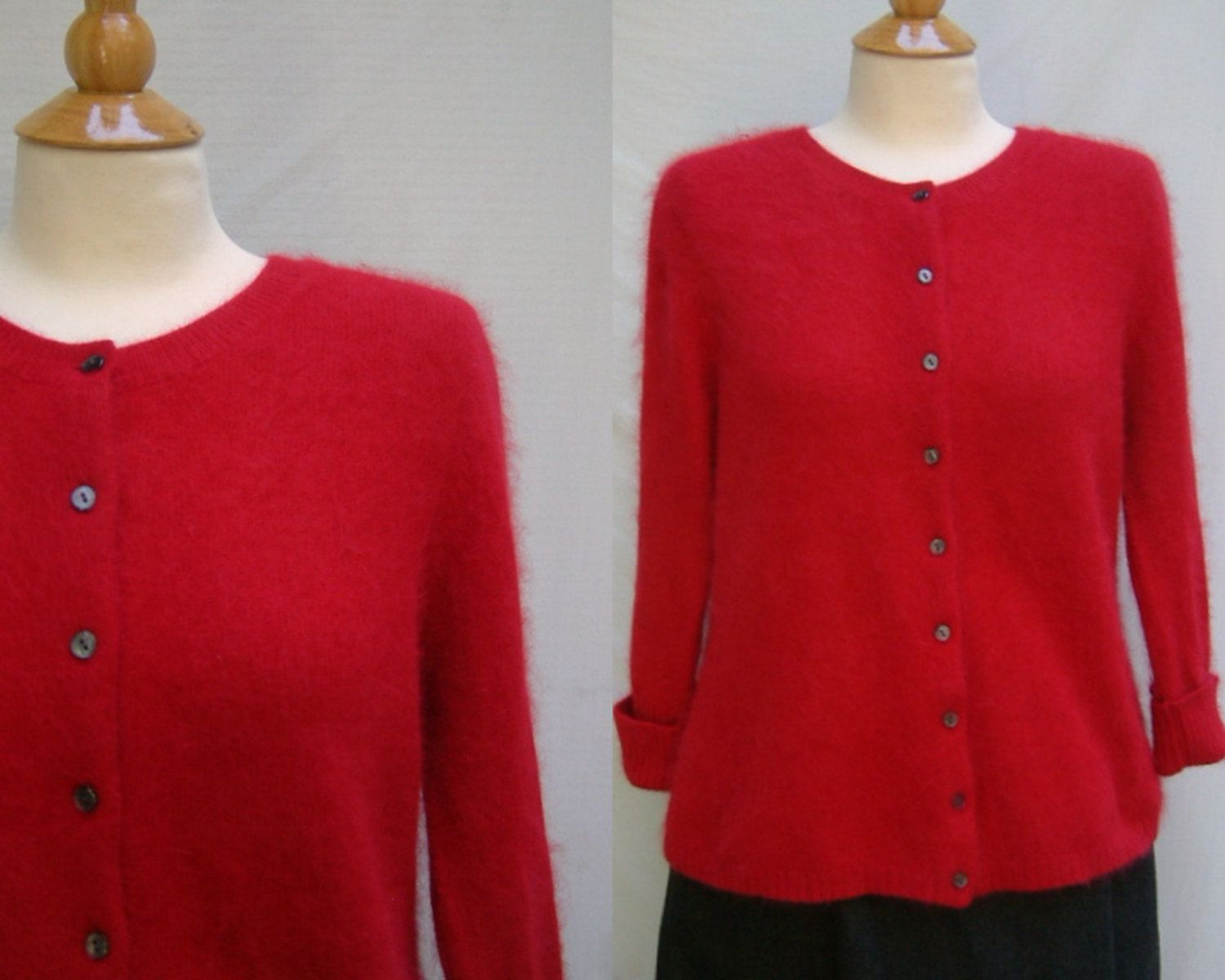 1990s Does 1950s womens angora blend red cardigan sweater from ...
