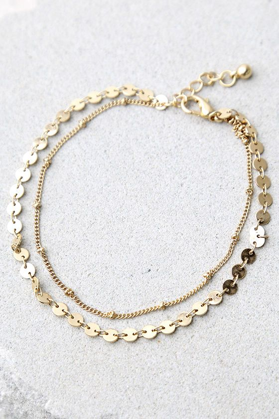 drop gold dainty listing filled au il anklet