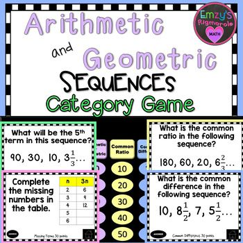Arithmetic And Geometric Sequences Category Game  Arithmetic