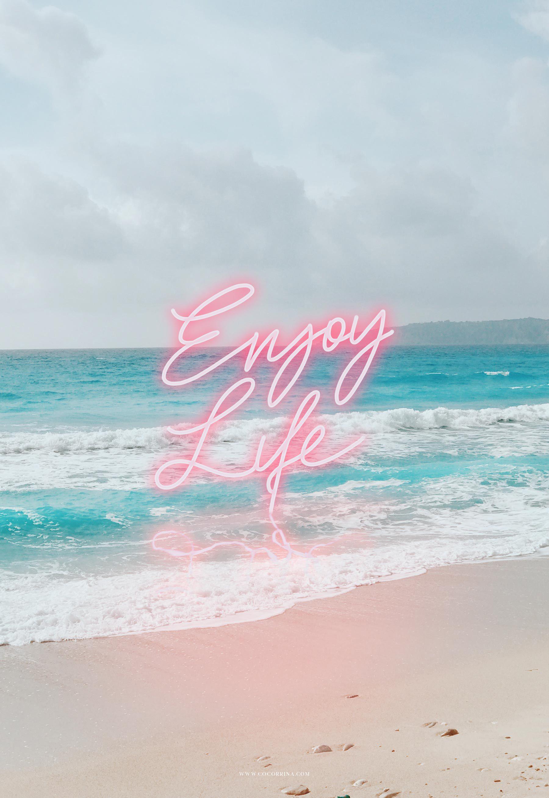 Enjoy life in neon Iphone wallpaper, Wallpaper quotes, Neon