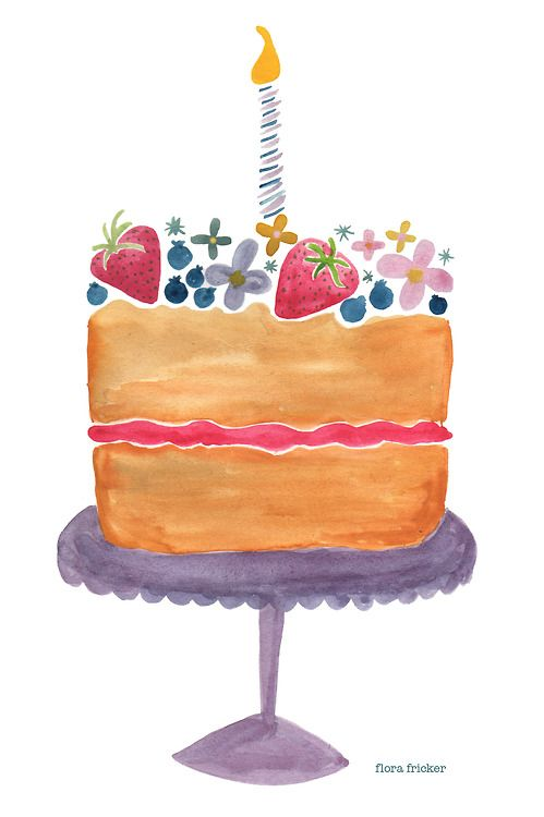 Tremendous Birthday Cake By Flora Fricker Birthday Cake Illustration Funny Birthday Cards Online Amentibdeldamsfinfo