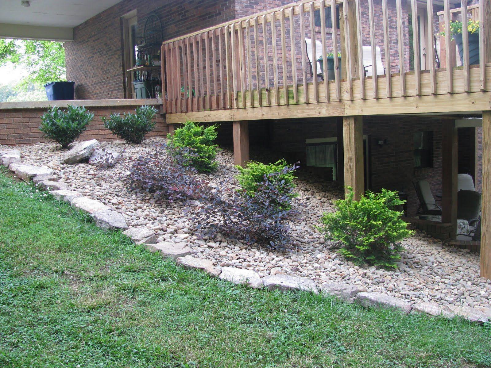 Rock Garden Around Deck Done Landscaping Around Deck
