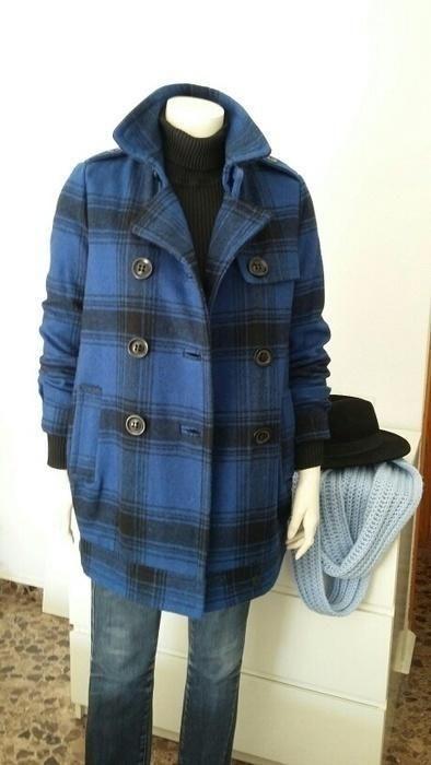 Abrigo nuevo Blanco klein casual marca Talla 36 acolchado azul lana aZvqxap