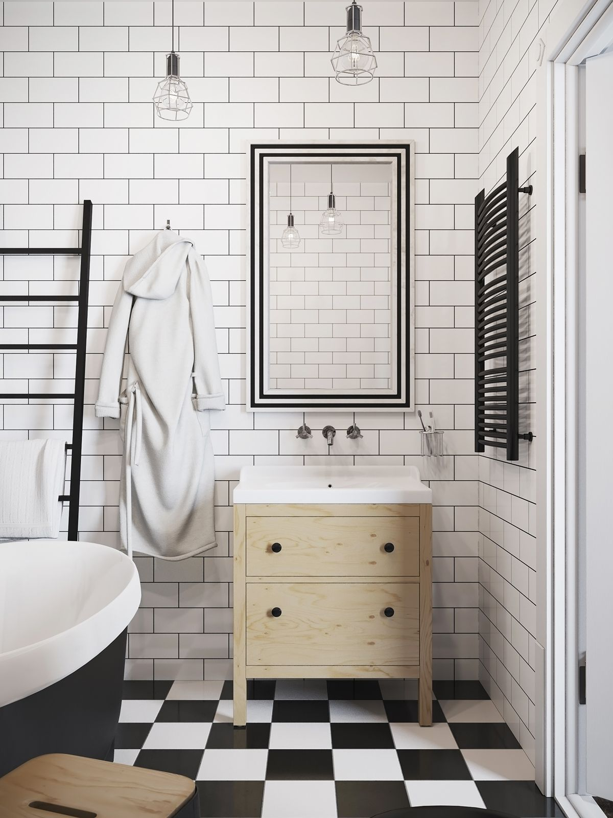 Finally the bathroom with its chic white tile walls and checked ...