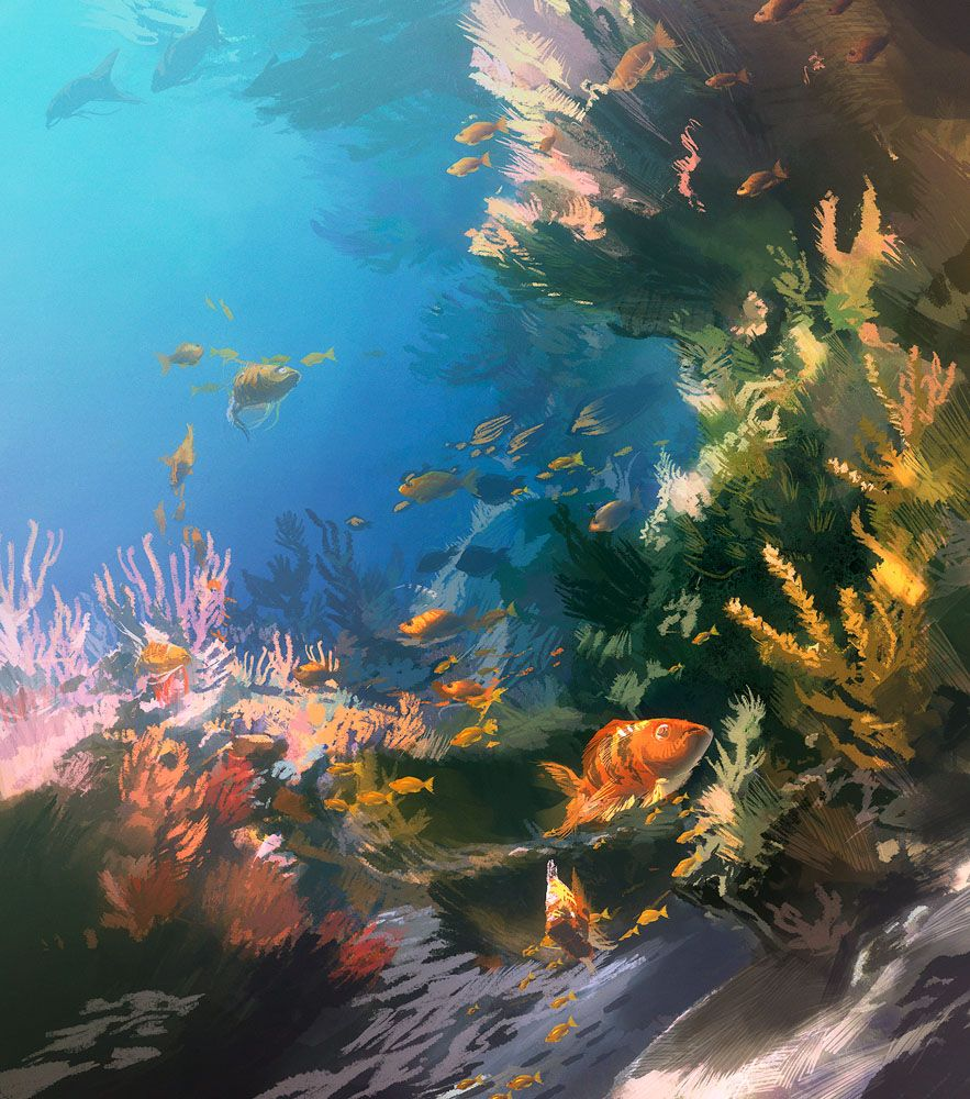 BENTHOS Noun  The Collection Of Organisms Living On Or In Sea - Ocean floor painting