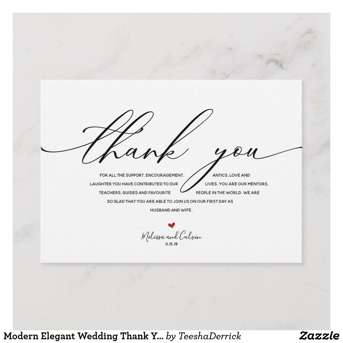 Modern Elegant Wedding Thank You Card