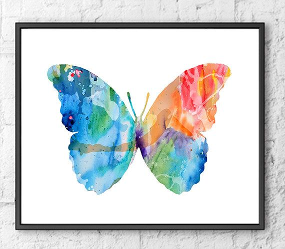 Butterfly Watercolor Art Print, Watercolor Illustration Art, Butterfly Art, Animal Art, Living Room Decor  - H25
