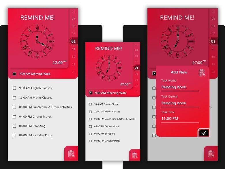 Remind Me! Mobile application development, App design