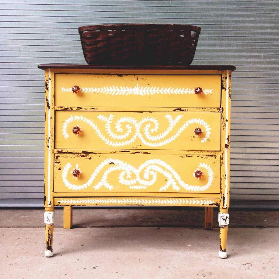 Vintage handpainted distressed yellow dresser painted furniture