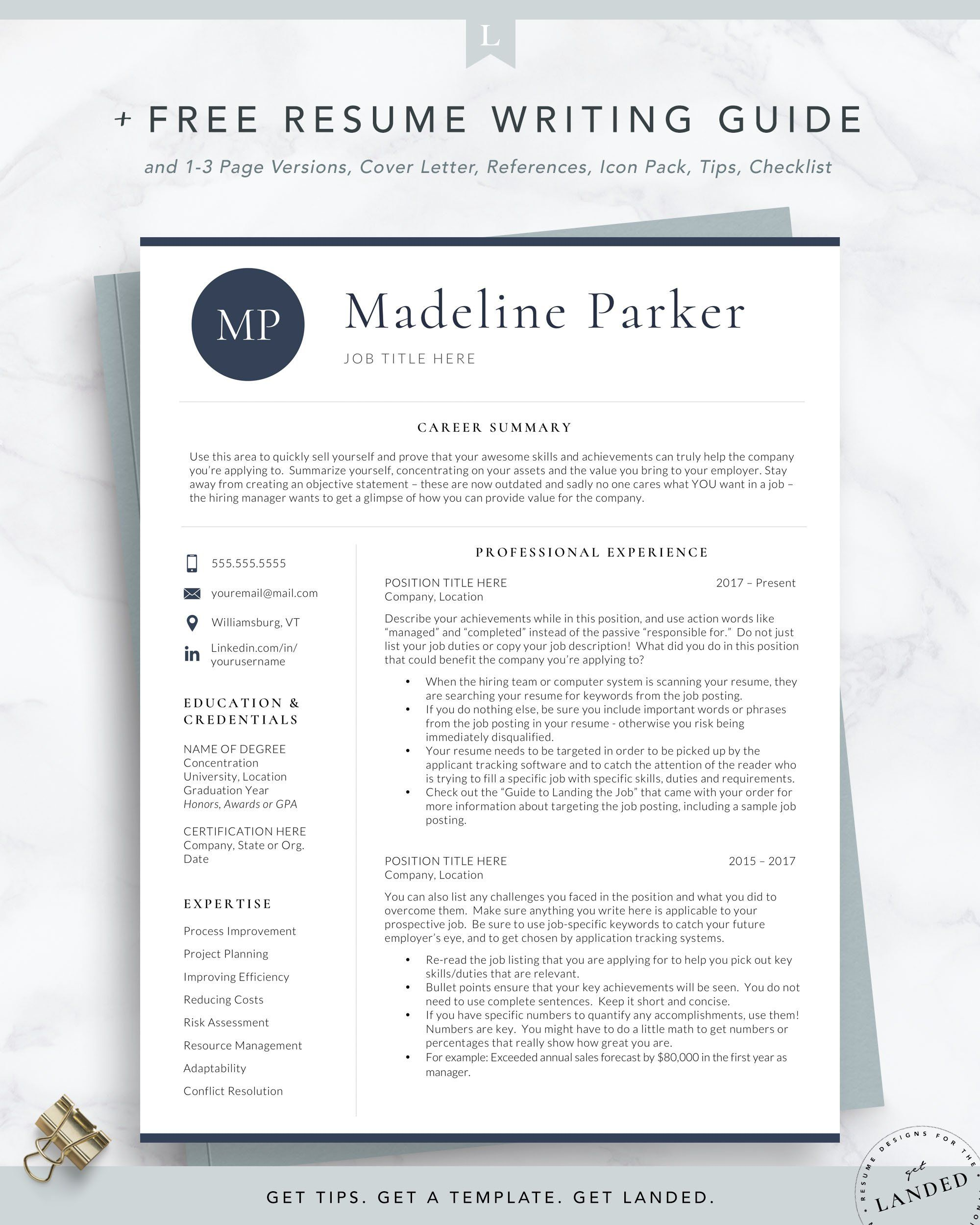 resumes, cover letters, and recommendations. Professional Initials Resume Template For Word And Pages The Parker Resume Template Word Resume Template Professional Cover Letter Tips