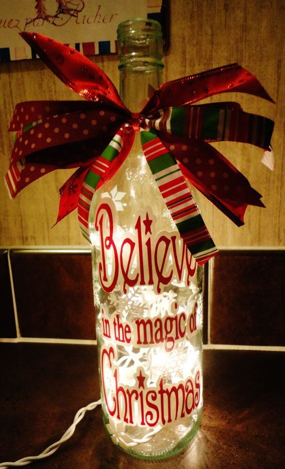 Wine Bottle Decoration With Lights Great For An Empty Bottle And An Afternoon Craft  Ho Ho Holiday