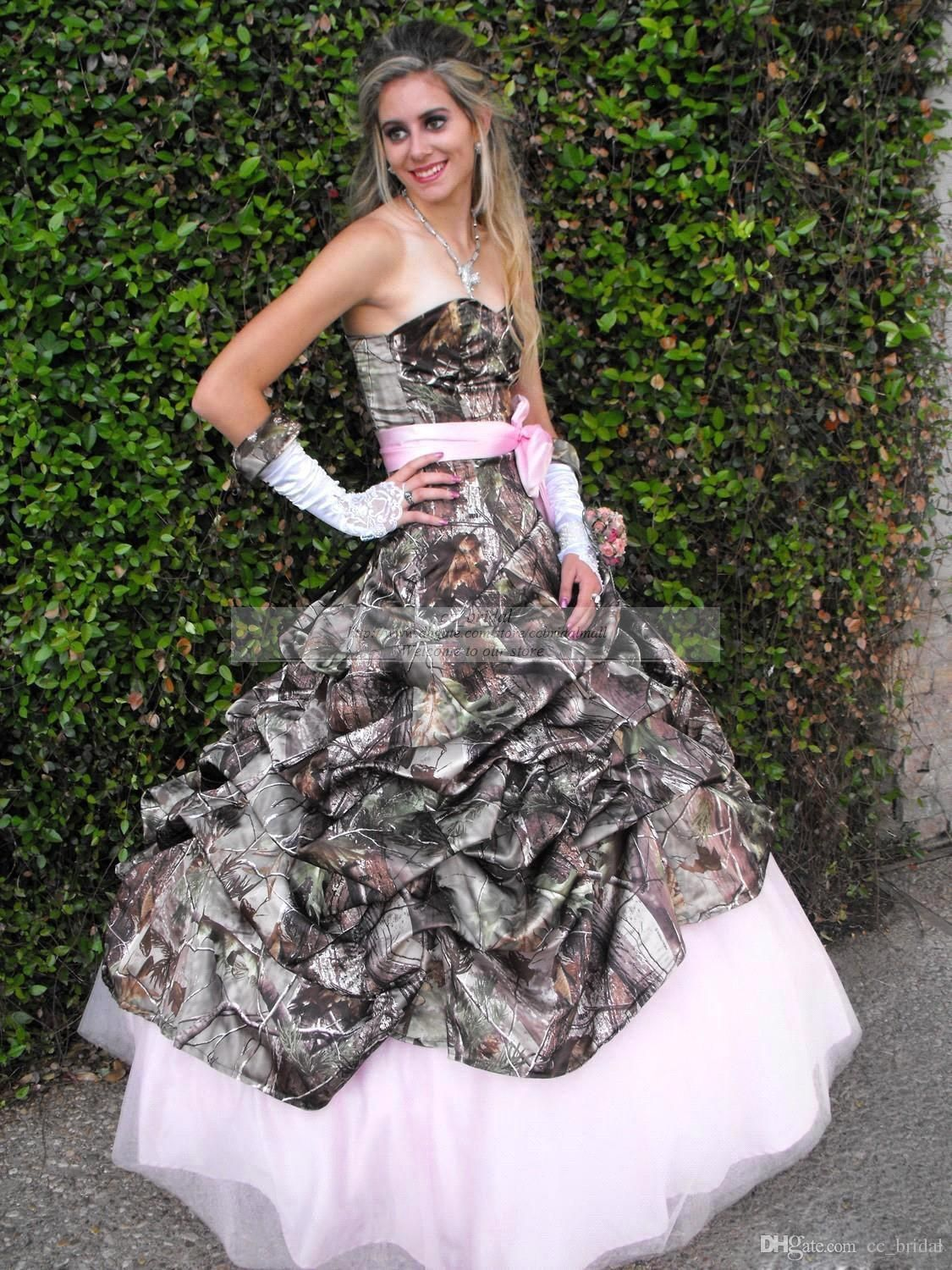 Trendy Cheap Printing Pink Camo Camouflage Wedding Dresses New Styles Sweetheart Realtree Camouflage Dress Ball Gown Plus Size Wedding Dress As Low As