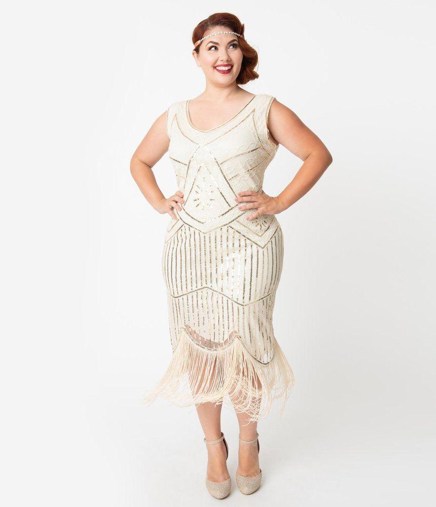Unique Vintage Plus Size Cream Gold Beaded Leonie Fringe Flapper Dress Plus Size Flapper Dress Unique Dresses Fringe Flapper Dress [ 1023 x 879 Pixel ]